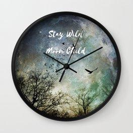 Stay Wild Moon Child, full moon art photo with birds Wall Clock