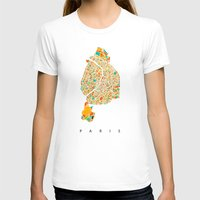 paris map T-shirts featuring Paris by Nicksman