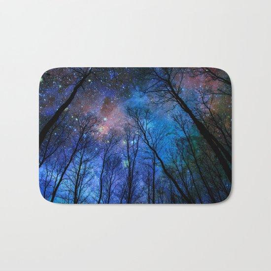 Black Trees Dark Blue Space Bath Mat