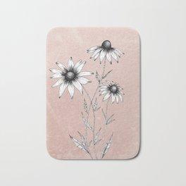 Wildflowers Ink Drawing | Dusty Pink Bath Mat
