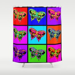 Psychedelic Butterflies Mosaic Shower Curtain