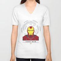 ironman V-neck T-shirts featuring IRONMAN by Nuthon Design