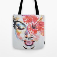 hibiscus Tote Bags featuring Hibiscus by Maria Lozano - Art