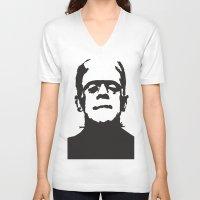 frankenstein V-neck T-shirts featuring Frankenstein by b & c