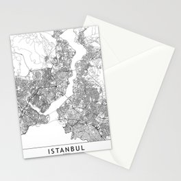 Istanbul White Map Stationery Cards