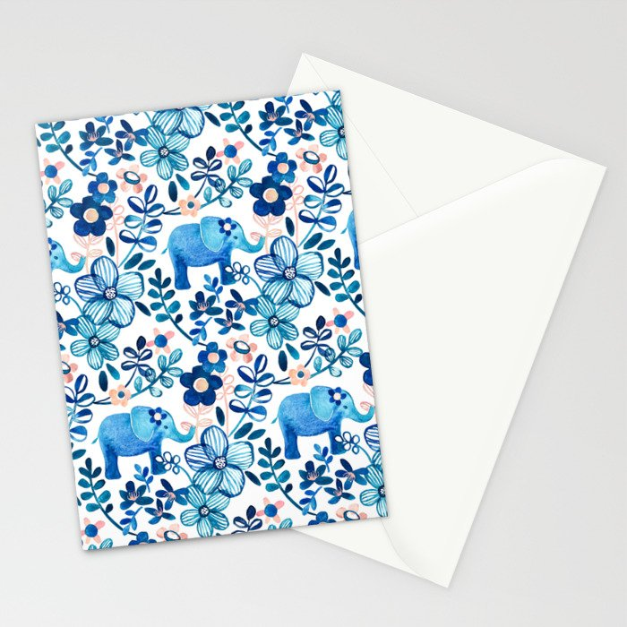 Blush Pink, White and Blue Elephant and Floral Watercolor Pattern Stationery Cards