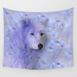 WOLF BLUE LILAC PURPLE FLOWER SPARKLE Wall Tapestry