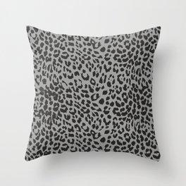 Black & Gray Leopard Print Throw Pillow