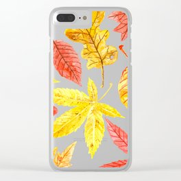 Atumn leaves watercolor Clear iPhone Case
