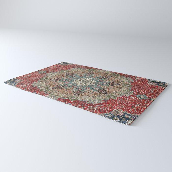 Antique Red Blue Black Persian Carpet Print Rug