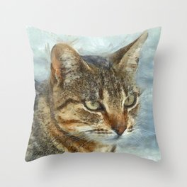 Stunning Tabby Cat Close Up Portrait Throw Pillow