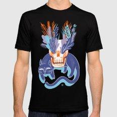 Cat Skull Garden (blue) LARGE Black Mens Fitted Tee