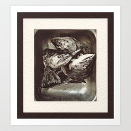 Salmon Heads Art Print