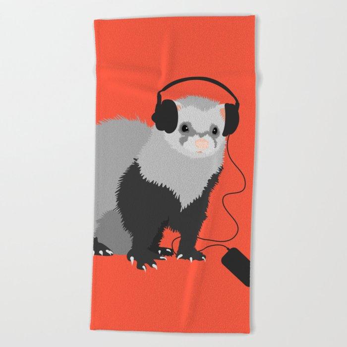 Music Loving Ferret Beach Towel