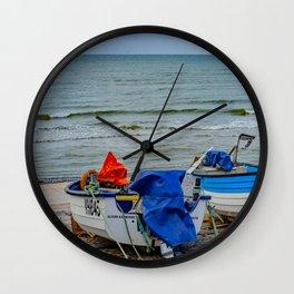 Traditional crab fishing boats on Sheringham beach Wall Clock