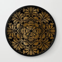 Sophisticated Black and Gold Art Deco Pattern Wall Clock