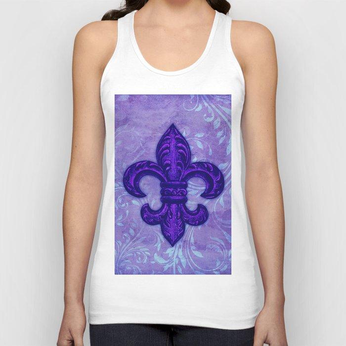 Purple Fleur de Lis Unisex Tank Top