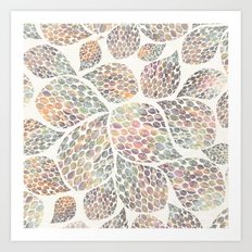 Soft Color Abstract Leaf Scatter Art Print