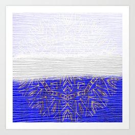 385 Blue Gold White Abstract Mandala Art Print