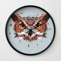 hunter Wall Clocks featuring Hunter by Jordan Smith
