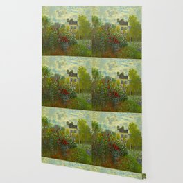 Claude Monet Impressionist Landscape Oil Painting A Corner of the Garden with Dahliass Wallpaper