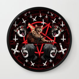 satanic cat pentagram death black metal band exorcist Wall Clock