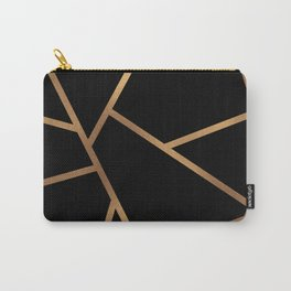 Black and Gold Fragments - Geometric Design Carry-All Pouch
