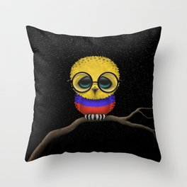 Baby Owl with Glasses and Colombian Flag Throw Pillow