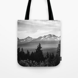 Morning in the Mountains Black and White Tote Bag