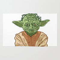 yoda Area & Throw Rugs featuring Yoda by Carolina Iura