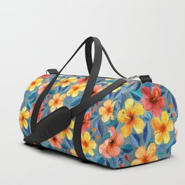 Colorful Watercolor Hibiscus on Grey Blue Duffle Bag