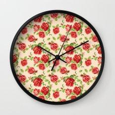 Rose pattern- cream Wall Clock