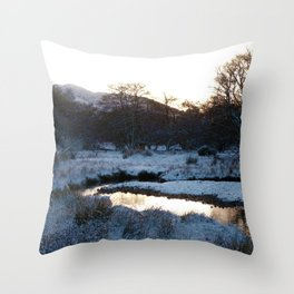 Snow on the hills Throw Pillow