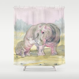 Colorful Mom and Baby Hippo Shower Curtain