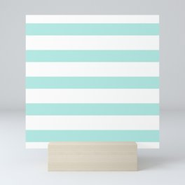 Aqua blue and White stripes lines - horizontal Mini Art Print