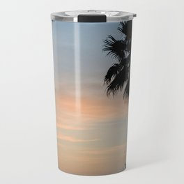 Contrasting photograph of a palm tree at sunset in Menorca Travel Mug