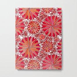 Tribal Mandala Print, Coral Red and White Metal Print