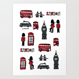 London icons illustration Art Print