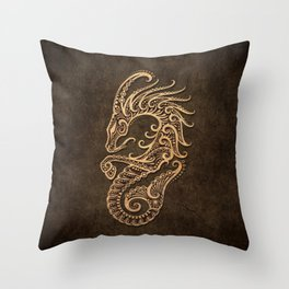 Vintage Rustic Capricorn Zodiac Sign Throw Pillow