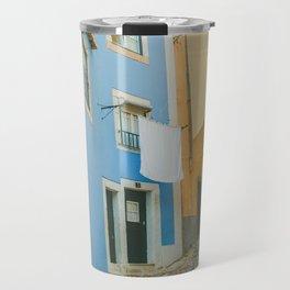 Colorful Blue and Yellow Wall in Lisboa Travel Mug
