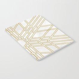 Golden stars on cream marble Notebook