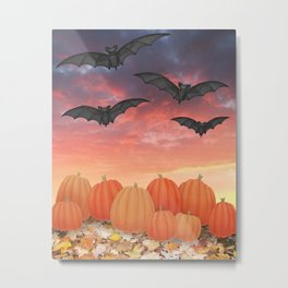 sunset pumpkins & bats Metal Print