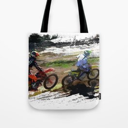 On His Tail - Motocross Sports Art Tote Bag