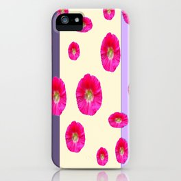 PINK-CERISE ASSORTED FLOATING HOLLYHOCK FLOWERS iPhone Case