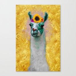 Flower Power Llama Canvas Print