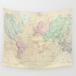 Vintage Map of The World (1862) Wall Tapestry