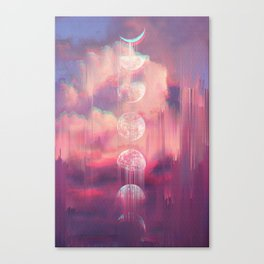 Moontime Glitches Canvas Print