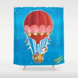 Goodnight Unicorn Balloon Kid Shower Curtain