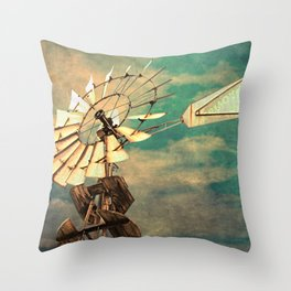 Rustic Windmill against Cloudy Sky Modern Country Art A520 Throw Pillow