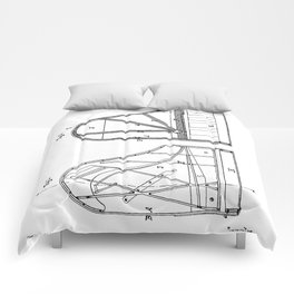 Steinway Grand Piano Patent - Piano Player Art - Black And White Comforters
